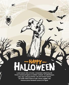 Desenho vetorial de halloween com estilo de silhueta desenhada à mão de zumbi