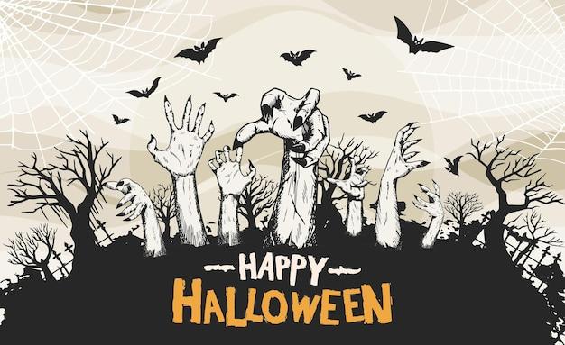 Desenho vetorial de halloween com estilo de silhueta desenhada à mão de zumbis
