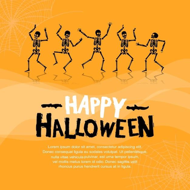 Desenho vetorial de halloween com silhueta de esqueleto em fundo laranja