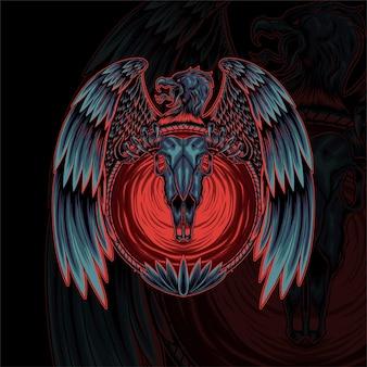 Desenho vetorial de ilustração de caveira de águia