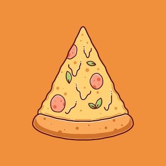 Desenho vetorial de ilustração de pizza desenhada à mão