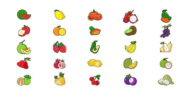 Desenho vetorial de ilustração plana de frutas