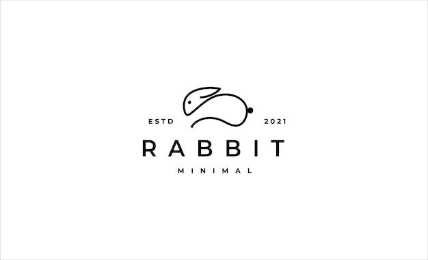 Desenho vetorial de linha de logotipo de coelho ou coelho