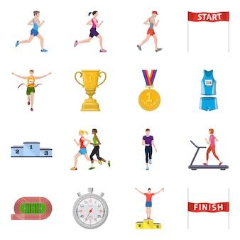 Desenho vetorial de logotipo de etapa e sprint. conjunto de passo e velocista