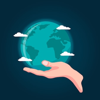 Desenho vetorial de mão segurando o planeta terra