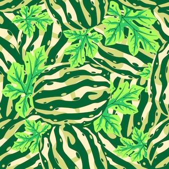 Desenho vetorial de melancia padrão sem emenda