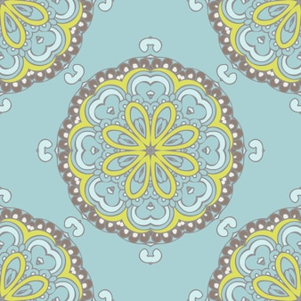Desenho vetorial de padrão de fundo com azulejos de flores vintage sem costura