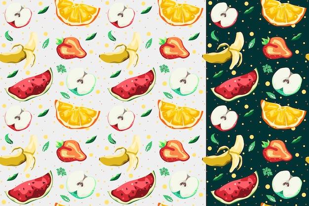 Desenho vetorial de padrão sem emenda de coleção de frutas