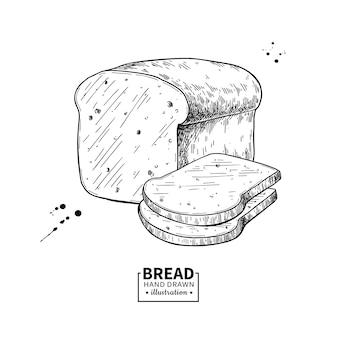 Desenho vetorial de pão. esboço de produto de padaria. comida vintage