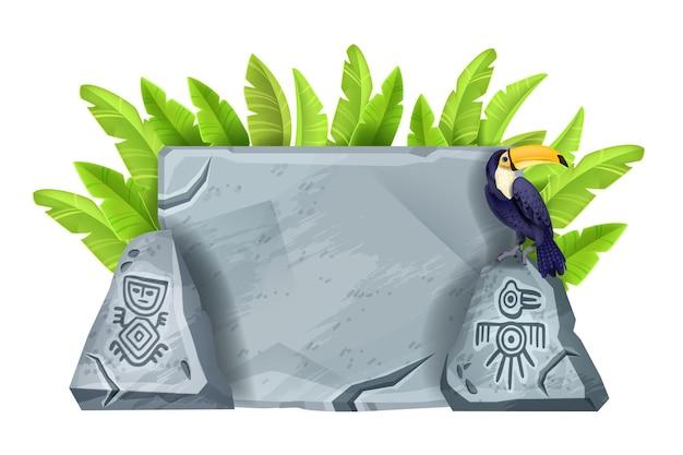 Desenho vetorial de pedra placa de sinalização ilustração antiga maya rocha cinza tucano folha de bananeira isolada