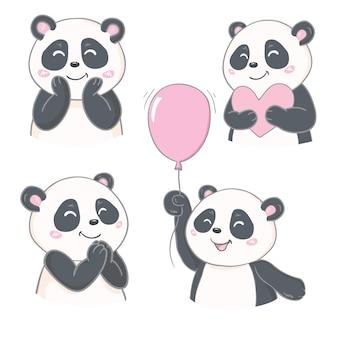 Desenho vetorial de personagem panda fofo, cartão de felicitações