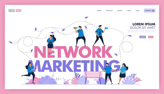 Desenho vetorial de rede de marketing para troca de informações e venda de produtos