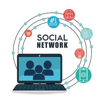 Desenho vetorial de rede social