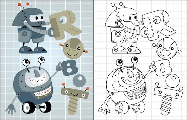 Desenho vetorial de robôs engraçados