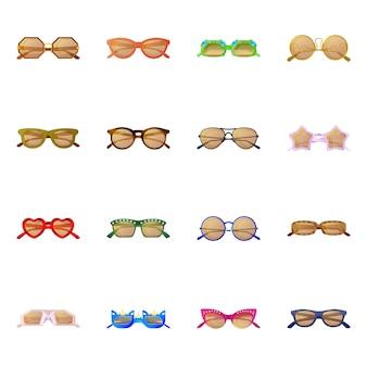 Desenho vetorial de símbolo de óculos e óculos de sol. conjunto de óculos e conjunto de acessórios