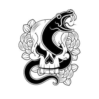 Desenho vetorial de tatuagem de cobra e caveira com banner e flor