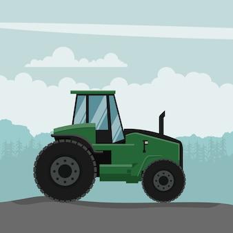 Desenho vetorial de trator agrícola. máquinas agrícolas pesadas para trabalhos agrícolas