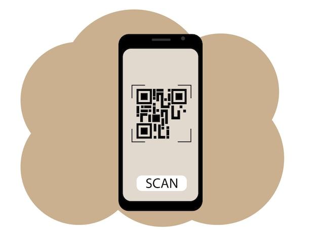 Desenho vetorial de um telefone celular com uma imagem na tela de um código qr. digitalizar ou gerar