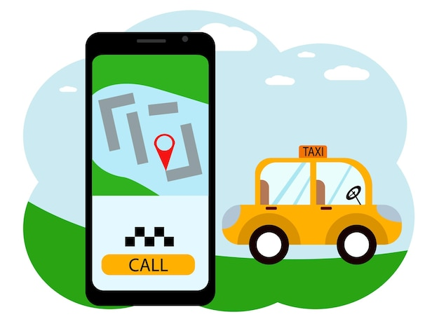 Desenho vetorial de uma mão com um telefone celular. no telefone, um aplicativo de chamada de táxi com um carro e um botão de chamada