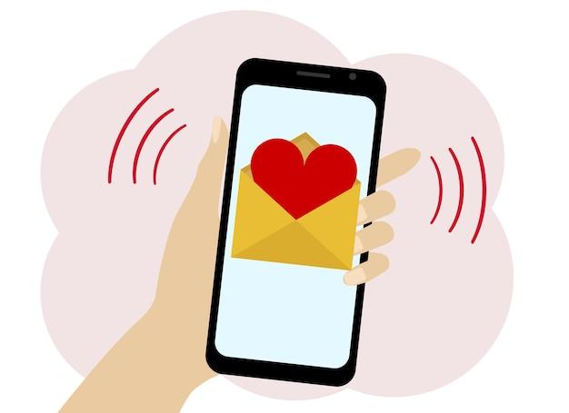 Desenho vetorial de uma mão com um telefone celular. o telefone contém a imagem de uma carta com um coração vermelho.