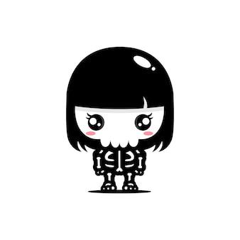 Desenho vetorial de uma personagem de caveira feminina fofa