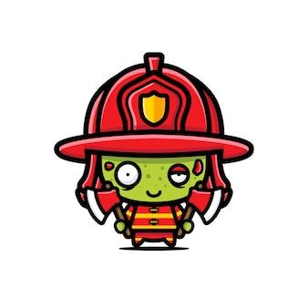 Desenho vetorial de zumbi bombeiro fofo