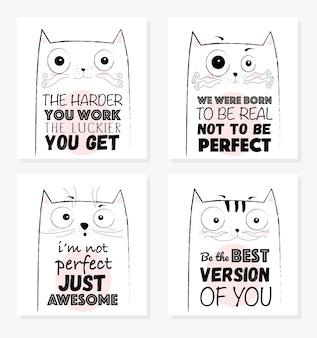 Desenho vetorial desenho ilustração de gato engraçado com frase de letras fofa