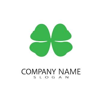 Desenho vetorial do logotipo da folha de trevo verde, ícone sorte design plano ilustração-vetor