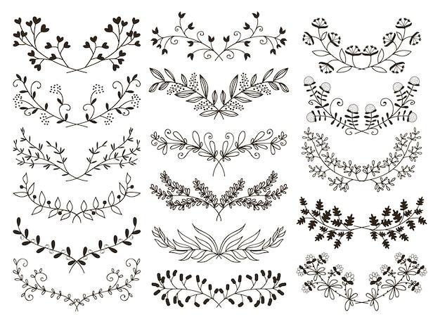 Desenho vetorial elementos gráficos florais desenhados à mão