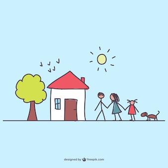 Desenho vetorial família download gratuito