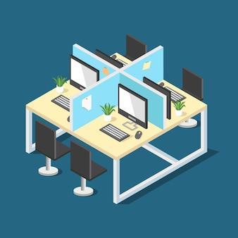 Desenho vetorial isométrico de mesa de escritório corporativo