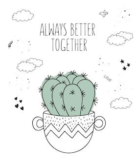 Desenho vetorial linha planta de casa em vaso com slogan sobre amigo ilustração doodle