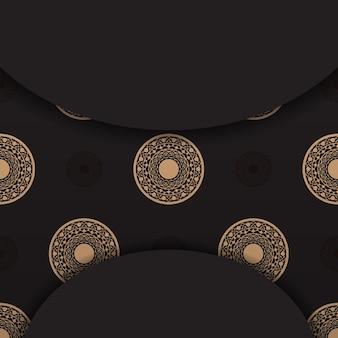 Desenho vetorial luxuoso de cartão postal na cor preta com ornamentos gregos. design de cartão de convite com espaço para o seu texto e padrões vintage.