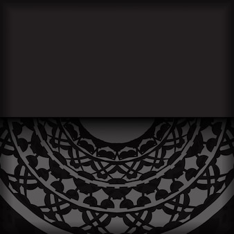 Desenho vetorial luxuoso de cartão postal na cor preta com padrões gregos. design de cartão de convite com espaço para o seu texto e ornamentos vintage.