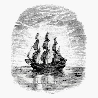 Desenho vintage de navio à vela