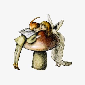 Desenho vintage de ninfas da floresta