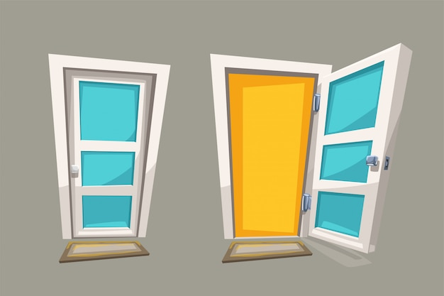 Desenhos animados abrir e fechar portas