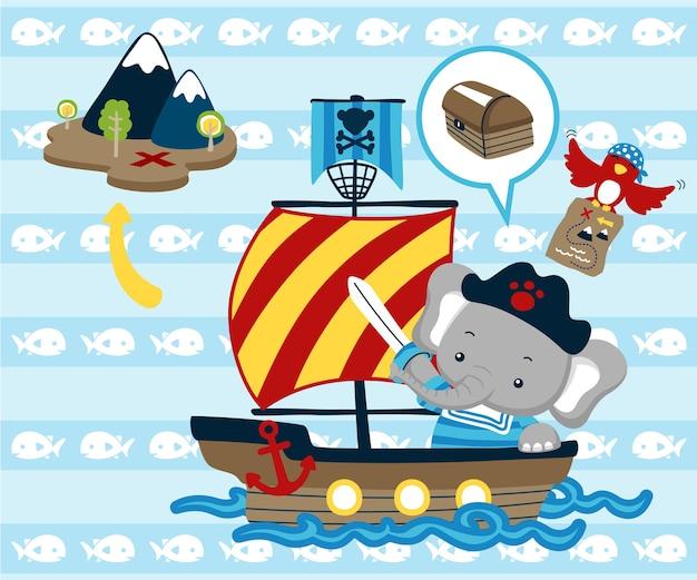 Desenhos animados adoráveis animais em veleiro