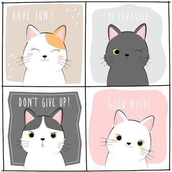 Desenhos animados adorável gatinho gato bonito doodle cartão de citação de motivação