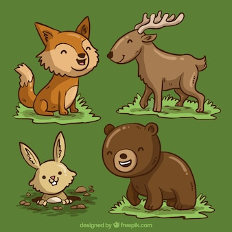 Desenhos animados agradáveis de animais selvagens