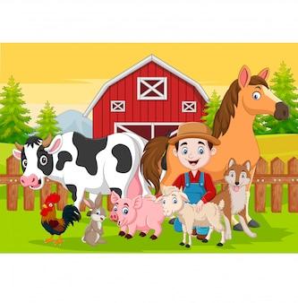Desenhos animados agricultor e animais de fazenda no curral