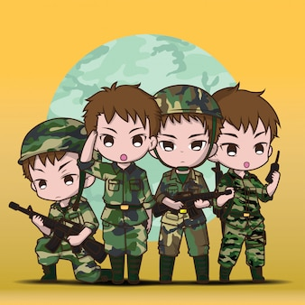 Desenhos animados ajustados do menino bonito do soldado do exército.