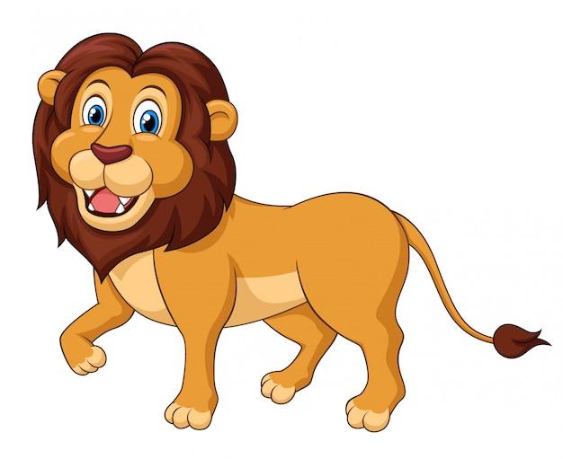 Desenhos animados andando de leão adorável