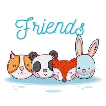 Desenhos animados animais amigos fofo