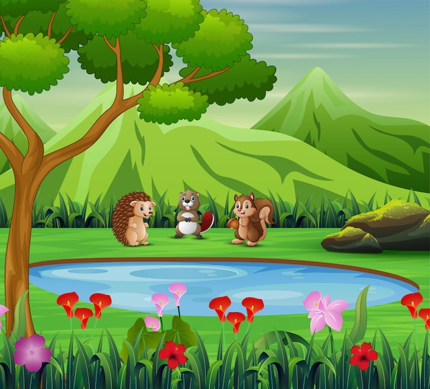 Desenhos animados animais brincando perto do pequeno lago