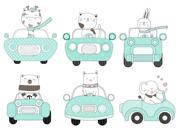 Desenhos animados animais fofos com estilo de mão desenhada de carro