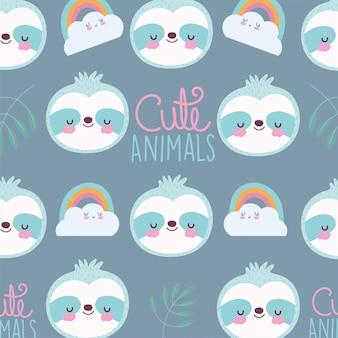 Desenhos animados animais fofos personagens guaxinim arco-íris nuvens