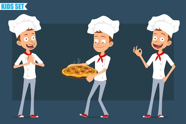 Desenhos animados apartamento pequeno chef cozinheiro menino personagem de uniforme branco e chapéu de padeiro. criança segurando pizza italiana com salame e mostrando sinal de tudo bem.