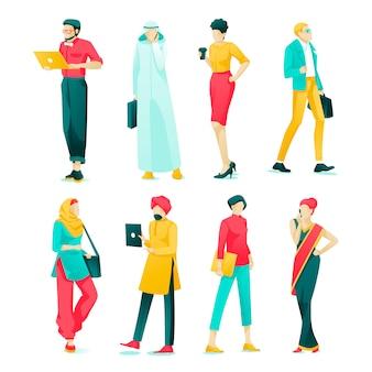 Desenhos animados asiáticos ajustados dos povos do caráter do cartaz lisos.