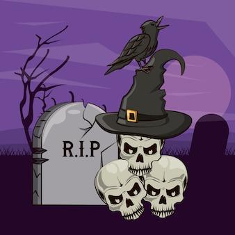 Desenhos animados assustadores de halloween